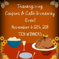 Thanksgiving Coupons & Ca$h Giveaway Event {Closed}
